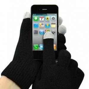 Paire de gants noir tactiles pour ecran smartphone