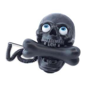 Téléphone fixe crâne à combiné en forme d'os filaire tete de mort