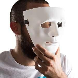 Masque blanc de personne anonyme visage
