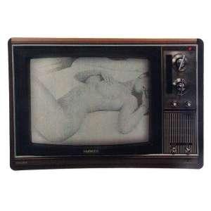 Tapis de souris informatique TV écran avec femme nue retro