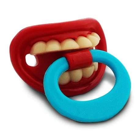 Sucette tétine humoristique avec dents et anneau