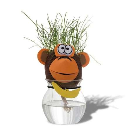 Tête d'animal cheveux d'herbe qui pousse