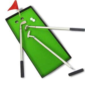 3 stylos clubs de golf, green, drapeau, 2 balles jeu golf miniature