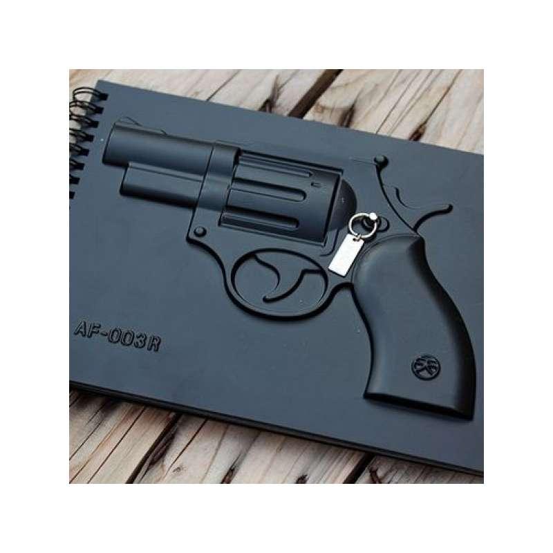 Carnet luxe bloc notes avec r volver en relief pistolet for Accessoire bureau luxe