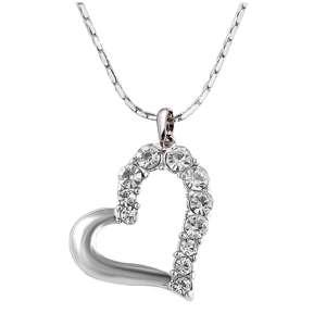 Collier avec pendentif cœur en strass argenté