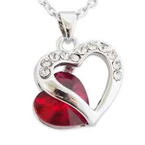 Collier double coeur strass et faux cristal rouge
