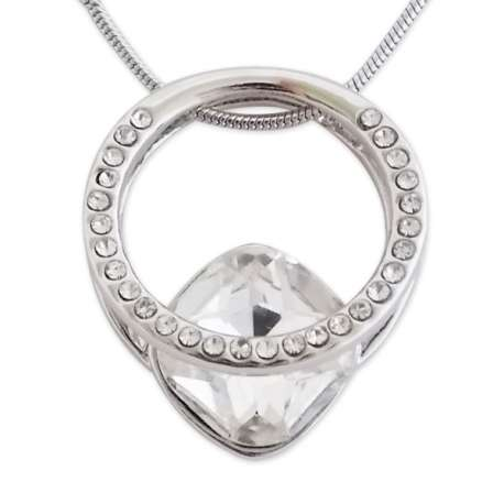 Collier pendentif boucle scintillante strass et pierre blanche