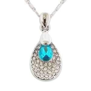 Collier pendentif goutte strass et faux diamant turquoise