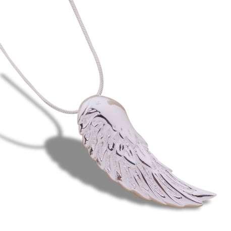 Collier argenté pendentif aile d'ange
