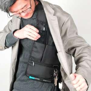 Sacoche gilet en bandoulière multi poche sécurité antivol