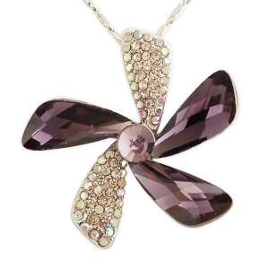 Collier pendentif 5 pétales strass et pierre violette
