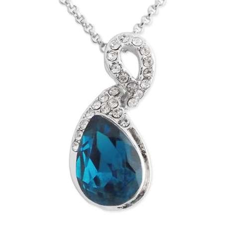 Collier pendentif original en strass avec fausse pierre bleu océan
