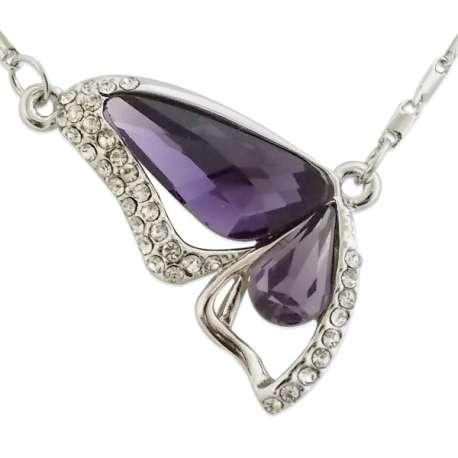 Collier pendentif papillon strass et faux cristaux violets