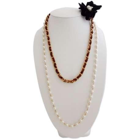 Sautoir perles et velours avec fleur