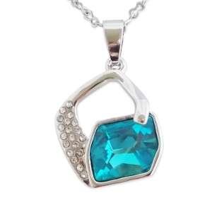 Collier losange suspendu en strass et faux cristal turquoise