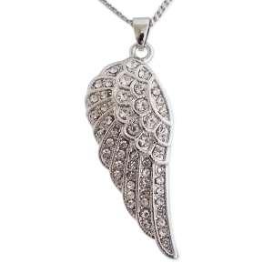 Collier avec pendentif strass en forme d'aile