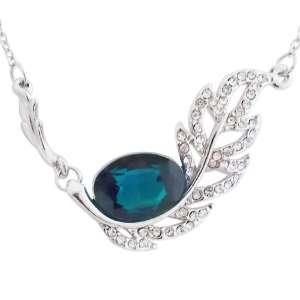 Splendide collier feuille strass et faux cristal bleu profond