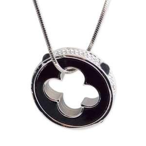 Collier 80 cm pendentif anneau noir et strass perforé trèfle