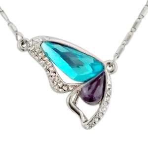 Collier papillon orné de strass et de faux cristaux turquoise et mauv