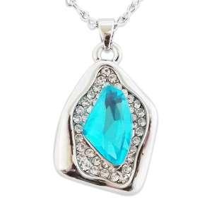 Collier pendentif atypique fausse pierre bleu turquoise et strass