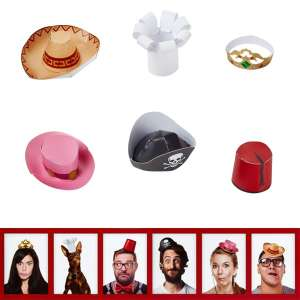 Coffret de 6 mini chapeaux marrants Photobooth drole