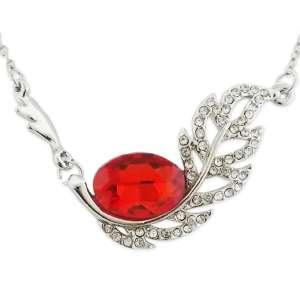 Collier pendentif feuille en strass et faux cristal rouge