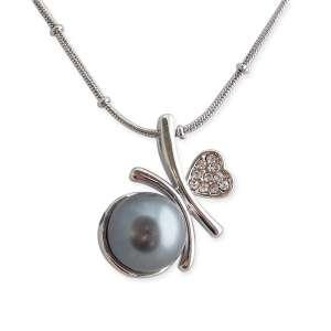 Tour de cou argenté pendentif sphère grise nacrée et cœur strass