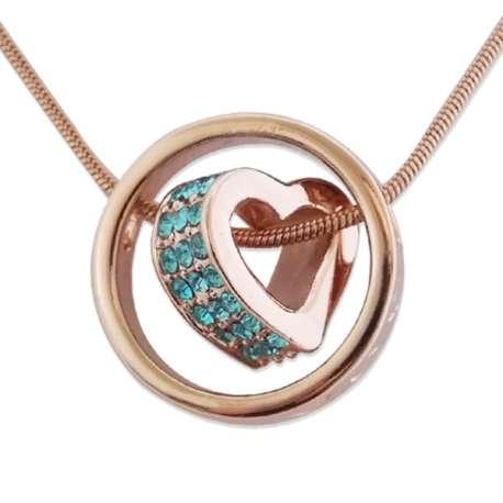 Collier doré pendentif anneau et coeur strass bleu turquoise