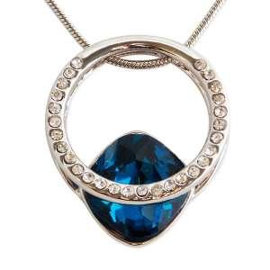 Collier anneau solitaire strass et pierre précieuse bleue