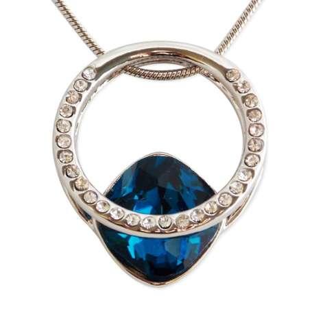collier anneau solitaire strass et pierre pr cieuse bleue totalcadeau. Black Bedroom Furniture Sets. Home Design Ideas
