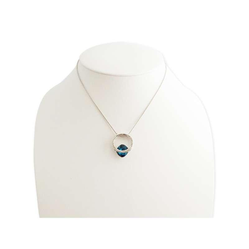 collier anneau solitaire strass et pierre pr cieuse bleue. Black Bedroom Furniture Sets. Home Design Ideas