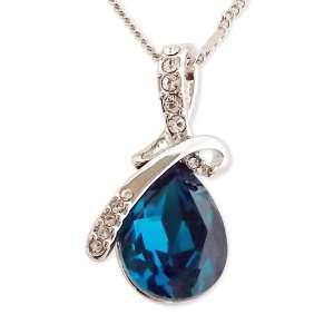Collier pendentif spirale en strass et goutte bleu