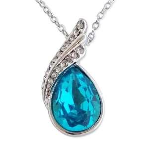 Collier avec goutte bleu turquoise et strass
