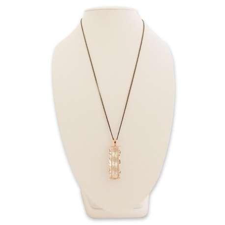 Collier long pendentif sablier rempli de 3 faux diamants