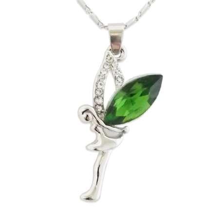 Collier merveilleux pendentif fée verte et strass