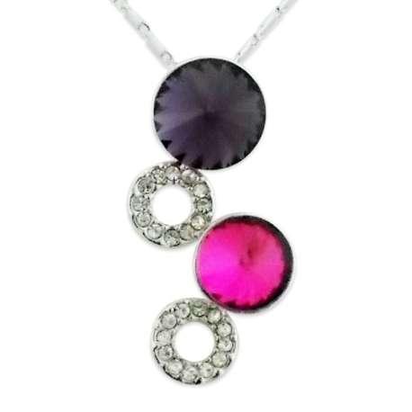 Collier pendentif 4 cercles pierres colorées et strass