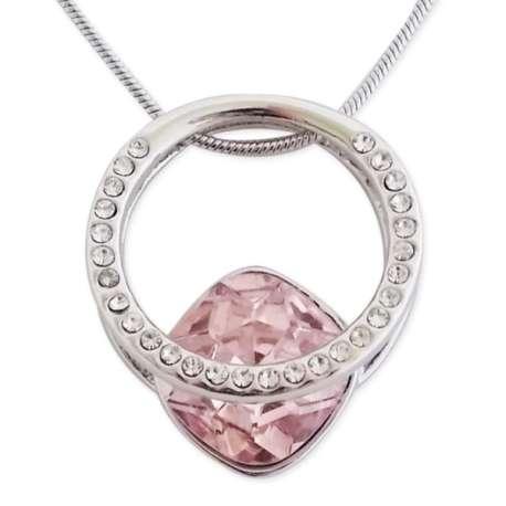 Collier pendentif bague avec strass et pierre rose