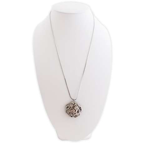 Sautoir 75 cm argente pendentif double rose