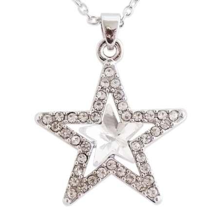 Collier argenté double étoile strass et fausse pierre blanche