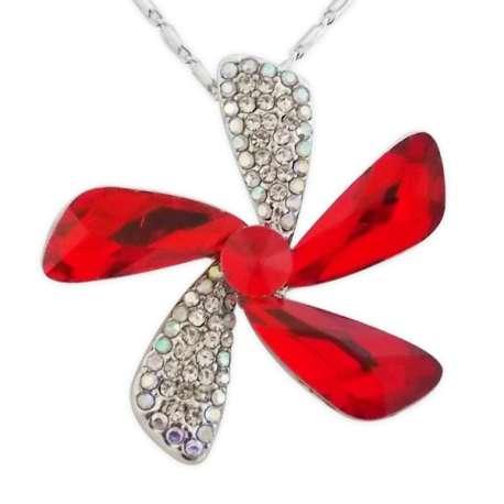 Collier fleur pétales en strass et fausses pierres rouges