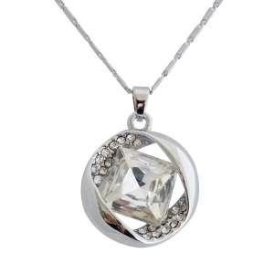 Collier pendentif anneau en strass orné d'un faux cristal central