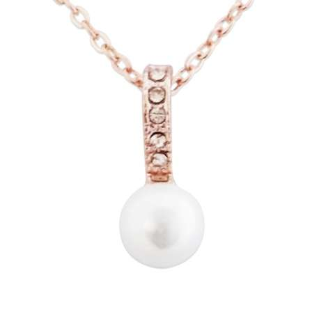 Collier doré avec attache pendentif en strass et perle blanche nacré