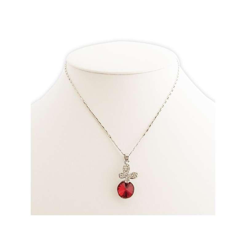 Collier pendentif papillon en strass et fausse pierre rouge totalcadeau - Fausse pierre precieuse ...