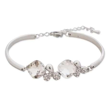 Bracelet semi-rigide argenté strass et faux cristaux blancs