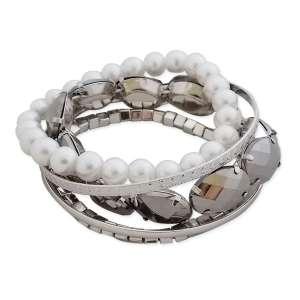 Association de 5 bracelets fantaisie blancs et argentés