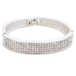 Bracelet argenté avec myriade de strass blancs