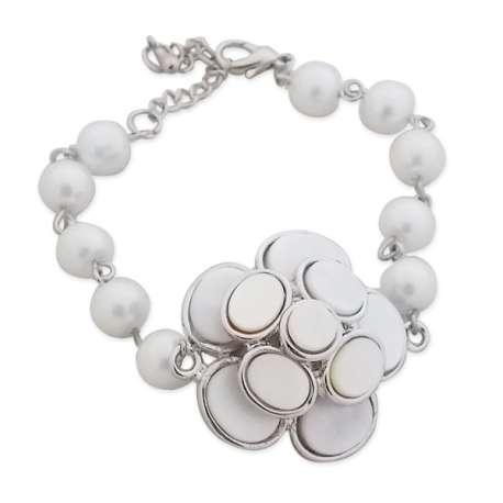 Bracelet perles et palets blancs nacrés