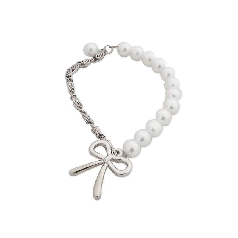 bracelet lastique aux perles blanches et mailles argent es totalcadeau. Black Bedroom Furniture Sets. Home Design Ideas