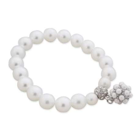 Bracelet élastique aux 19 perles blanches nacrées