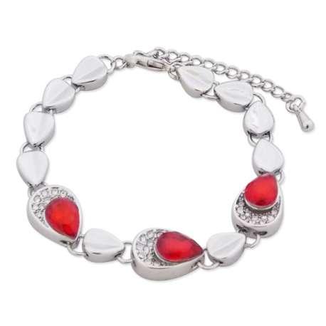 Bracelet 13 gouttes argentées, strass et faux cristal rouge